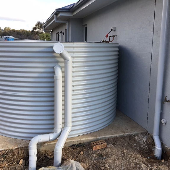 rainwater tank installed at a home