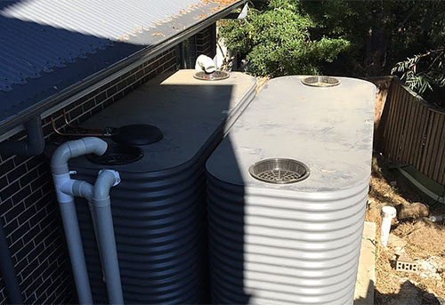 double rainwater tank installation